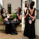 Black Sequin Sparkly Popular Custom Cheap Bridesmaid Dress,wedding guest dress , WG219