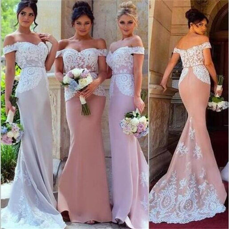 2018 Off Shoulder Lace Appliques Mermaid Formal Elegant Charming Bridesmaid Dresses , PD0353
