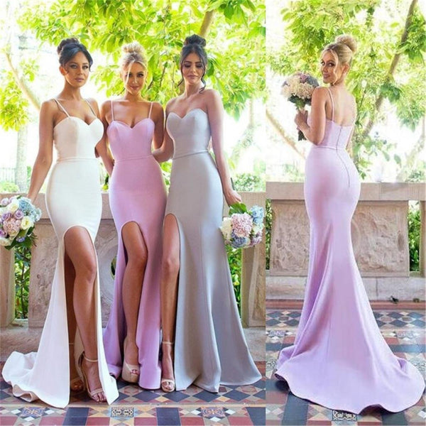 2017 Mermaid Spaghetti Straps Sweetheart Simple Bridesmaid Dresses with small train, PD0361