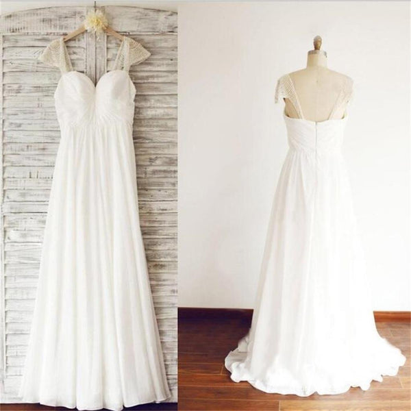 Cap Sleeve Elegant Sea Beach Cheap Chiffon Wedding Dresses With Beading, WD0176 - SposaBridal