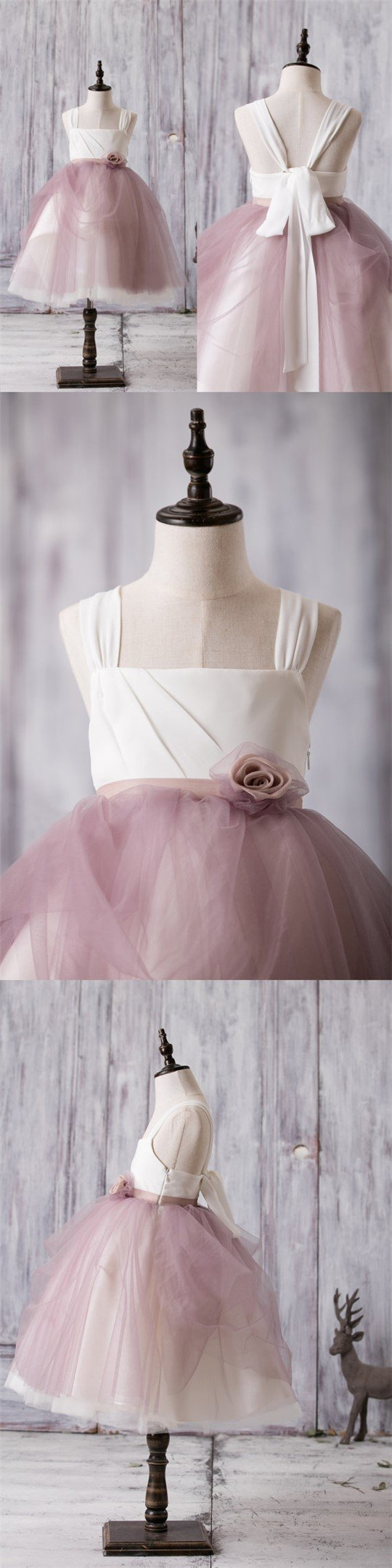 Newest Arrival Strap White Top Dusty Rose Tulle Cute Flower Girl