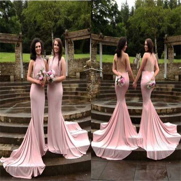 2017 Backless Halter Mermaid with Small Train Bridesmaid Dress,wedding guest dress , WG220