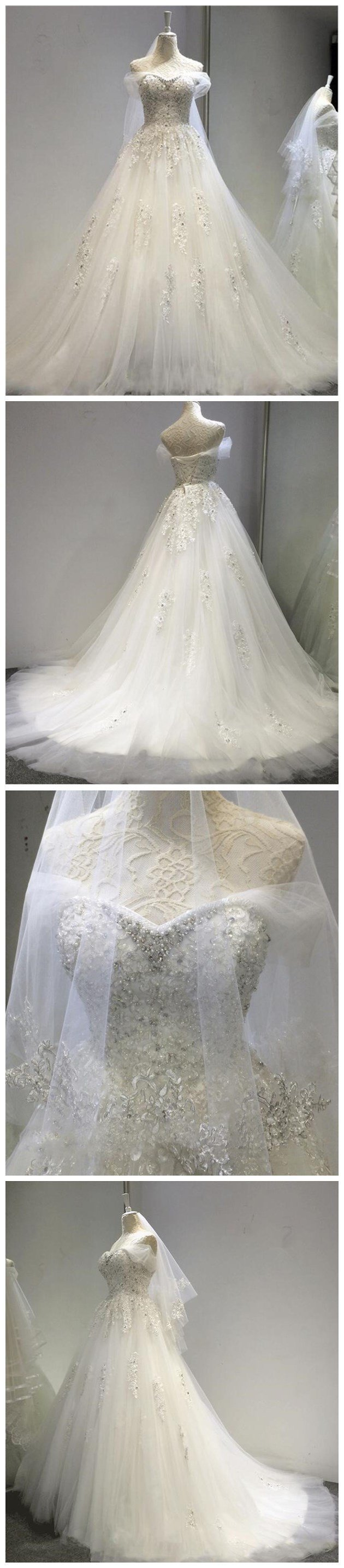 Long A-line  beading Formal Custom beautiful Cheap Wedding Dresses,  WD0232