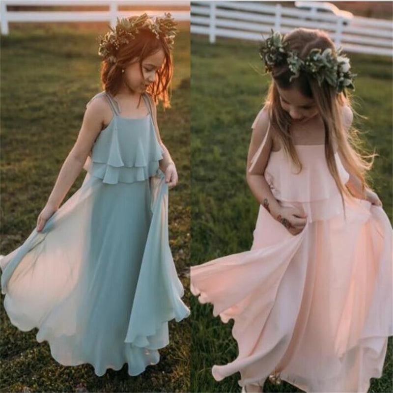 Two Pieces Sequin Top Blush Pink Chiffon Skirt Flower Girl Dresses, Junior Bridesmaid Dresses, FG059