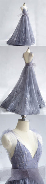 Charming Tulle Unique Newest Design V-neck Straps Prom Dresses, Fashion Modern Prom Dress , PD0464 - SposaBridal