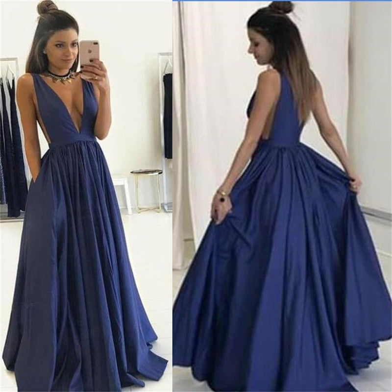 Long deep v neck sexy blue popular elegant formal Prom Dress, popular gowns Party Dress, PD0327