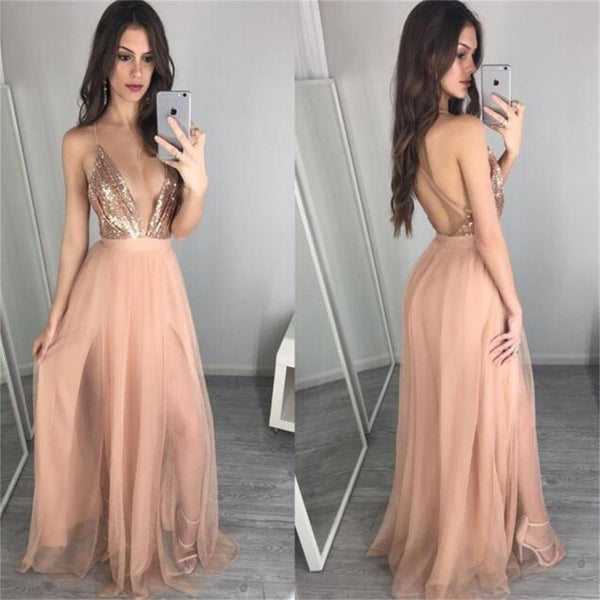 2017  Deep V Neck Sequin Champagne Sexy Long Popular Prom Dress, Party Dress, PD0312