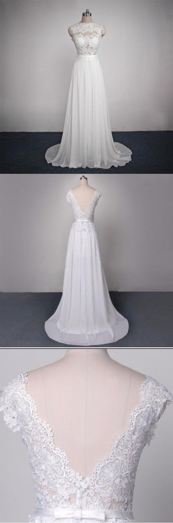 Long Lace Chiffon Elegant Pretty Most Popular Custom Handmade Wedding Dress, WD0091