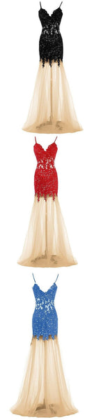 long black red blue formal elegant unique evening dress Prom Dress, Party gown, PD0323