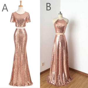 Charming Rose Gold Sequin Two Pieces Long Popular Fashion Prom Dress, Bridesmaid Dress, PD0383