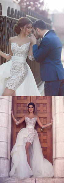 Sweetheart Long Sleeve Wedding Dress with Detachable Train Latest Short Lace Bridal Gown , PD0226