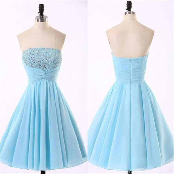 Cheap Chiffon Light Blue Cute homecoming prom dresses, CM0018 - SposaBridal