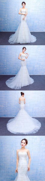 Long Mermaid Strapless Elegant Sweetheart Lace Appliques Charming Wedding Dresses, WD0224