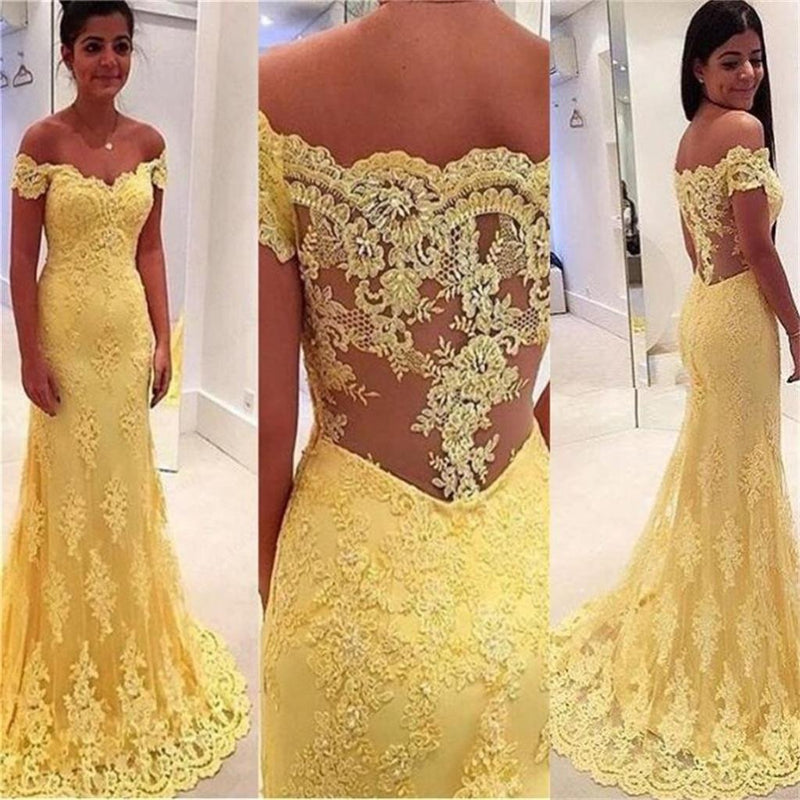 Long Lace Yellow Off Shoulder See-Through Back Evening Formal Fashion Prom Party Dress , PD0267