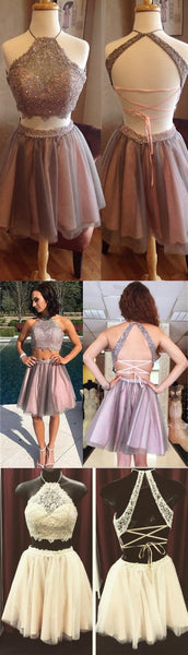 Short Two Pieces Open Back High Neck Graduation Homecoming Dress, Prom Dress for Teens, PD0352