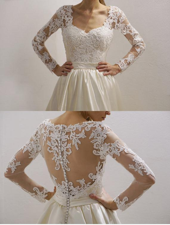 Cheap See Through Lace Long Sleeve Wedding Dresses Online, WD359 - SposaBridal