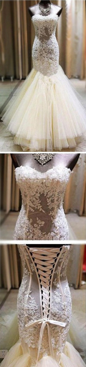 Sexy Ivory Lace Sweetheart See Through Mermaid Tulle Wedding Party Dresses, WD0051