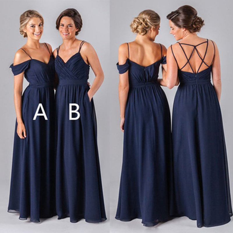 2019 Mismatched Different Styles Chiffon Navy Blue Formal Cheap Sexy