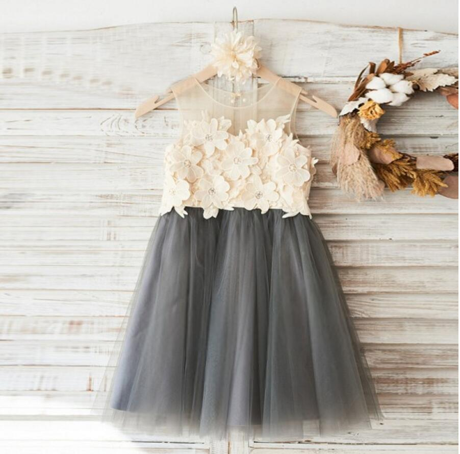 Top Lace Appliques Grey Tulle Sleeveless Cute Custom Flower Girl Dresses, Junior Bridesmaid Dresses, FG088