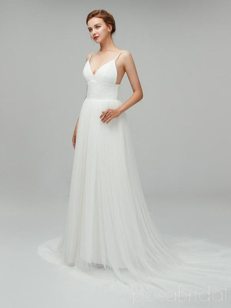 Charming Simple Backless Tulle Custom V-neck Floor-Length Wedding Dress , WD0120