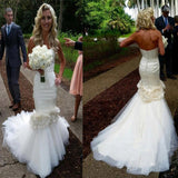 Vantage Sweetheart Satin Wedding Party Dresses With Appliques, Tulle Bridal Gown, WD0054