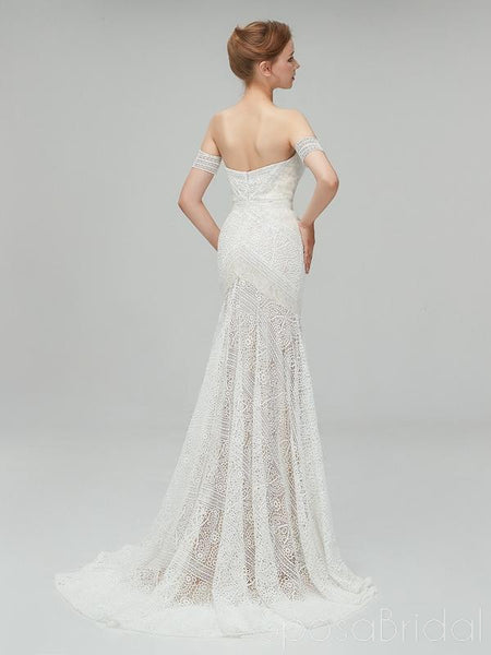 Chamring Custom Unique Full Lace Beach Wedding Dresses, Real Made Popular Romantic Elegant Wedding Gown, WD0352