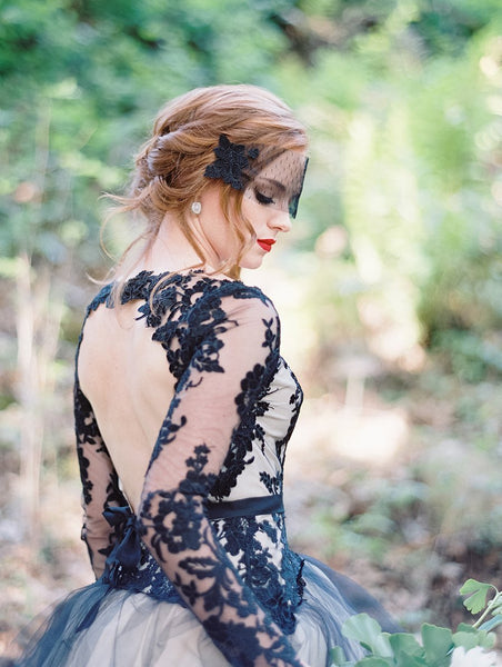 Charming Black Lace Newest Elegant Prom Dress, Custom Long Sleeves Open Back Wedding Dress, PD0393 - SposaBridal