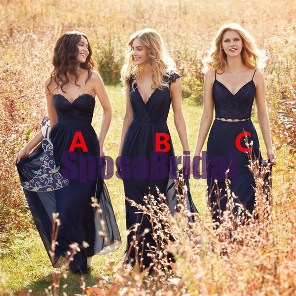 Chiffon Cheap Navy Blue Long Simple Mismatched Bridesmaid Dresses, Most Popular Bridesmaid Dress, PD0487