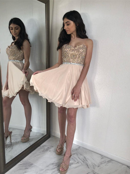 Charming Sweetheart Lace Beaded Short Cheap Homecoming Dresses Online, CM581 - SposaBridal