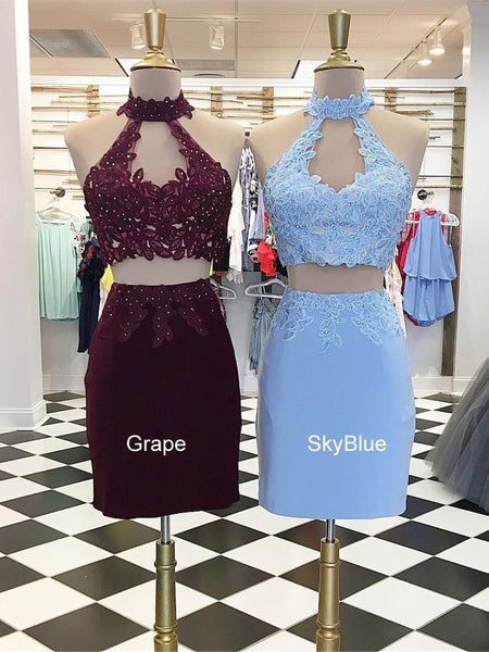 Sexy Halter Two Pieces Short Homecoming Dresses 2018, CM502