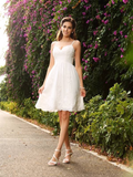 Spaghetti Straps Cheap Lace Short Wedding Dresses Online, WD363