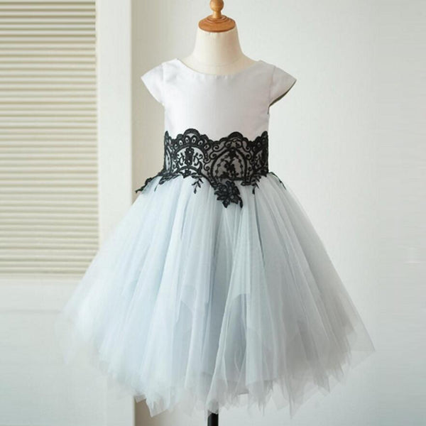 Cap Sleeves Tulle With Lace Lovely Beautiful Cheap Short  Wedding Flower Girl Dresses, FG0093 - SposaBridal