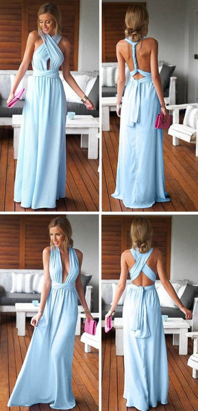 Cheap Simple Convertible Blue Long Bridesmaid Dresses for Summer Beach Wedding Party, WG59 - SposaBridal
