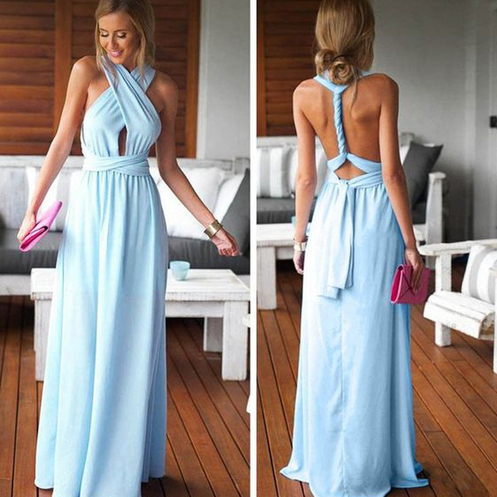 Cheap Simple Convertible Blue Long Bridesmaid Dresses For