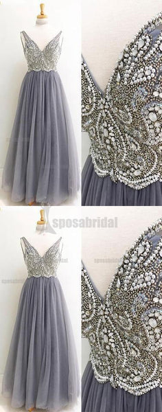Beaded Sparkly V Neck Long Sleeveless Gorgeous Popular Prom Dresses, Evening dresses, PD0590 - SposaBridal