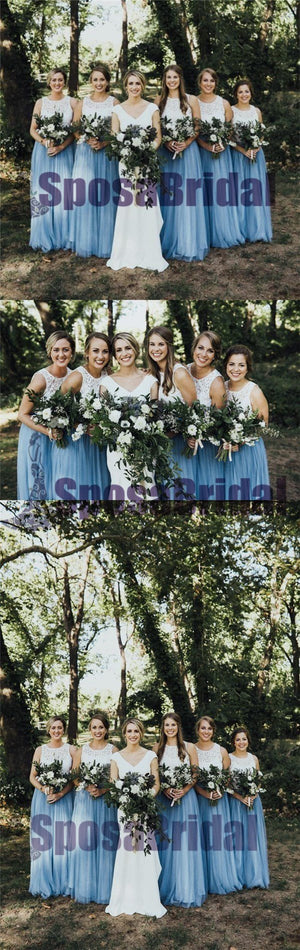 Long Sleeveless Scoop Top Lace Tulle Most Popular Free Custom Bridesmaid Dresses, PD0522