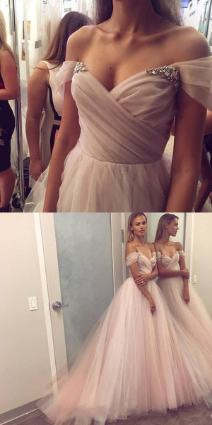 Pink Off Shoulder Tulle Pretty Popular Formal Prom Dresses, Prom gowns, evening dress, party dress, PD0602