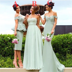 Sage Different Style New Design Free Custom Handmade Beautiful Bridesmaid Dresses  , PD0255