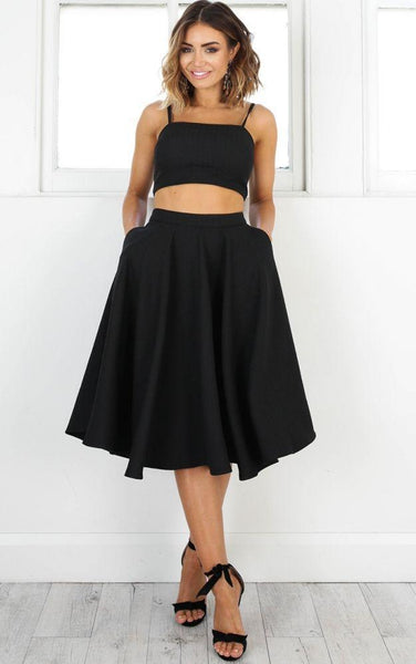 Simple Two Pieces Black Short Homecoming Dresses 2018, CM505