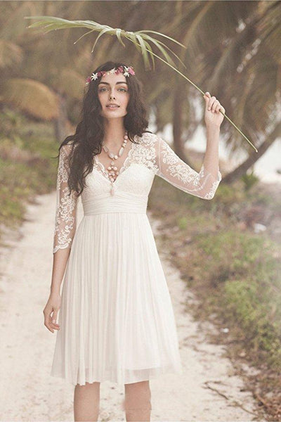 Cheap Long Sleeve Lace Short Beach Wedding Dresses, WD330 - SposaBridal