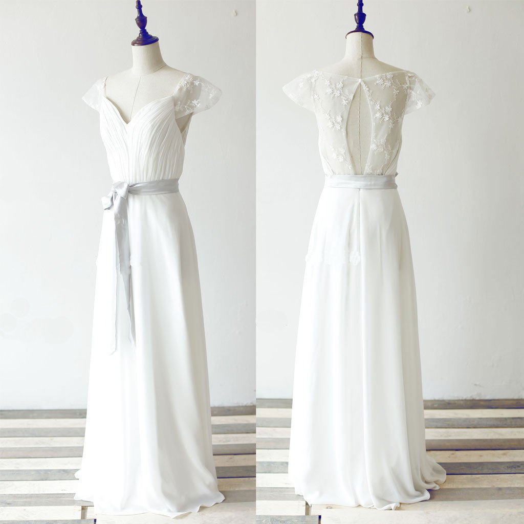 Simple Long A-line White Chiffon Wedding Party Dresses, Cap Sleeve ...
