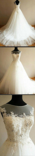 Charming Illusion Long A-line Lace Up Tulle Rhinestone Wedding Party Dresses, WD0063 - SposaBridal