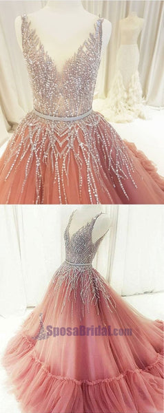 Beaded Rhinestones V Neck Aline Gorgeous Prom Dresses, Fashion Formal Elegant Prom dress, PD0672 - SposaBridal