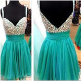 Short green mismatched spaghetti strap sparkly sexy homecoming prom dress,BD0064