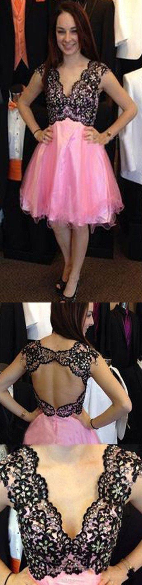 Vintage cap sleeve v-neck open back mismatched sexy unique homecoming prom dress,BD0068
