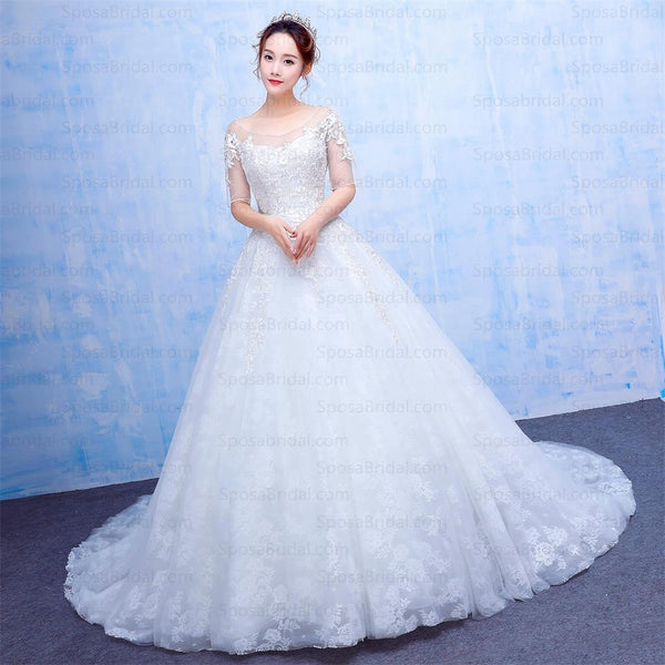 Long Half Sleeves Scoop A-Line Wedding Gown, beautiful Fashion New Arrival Wedding Dresses, WD0225