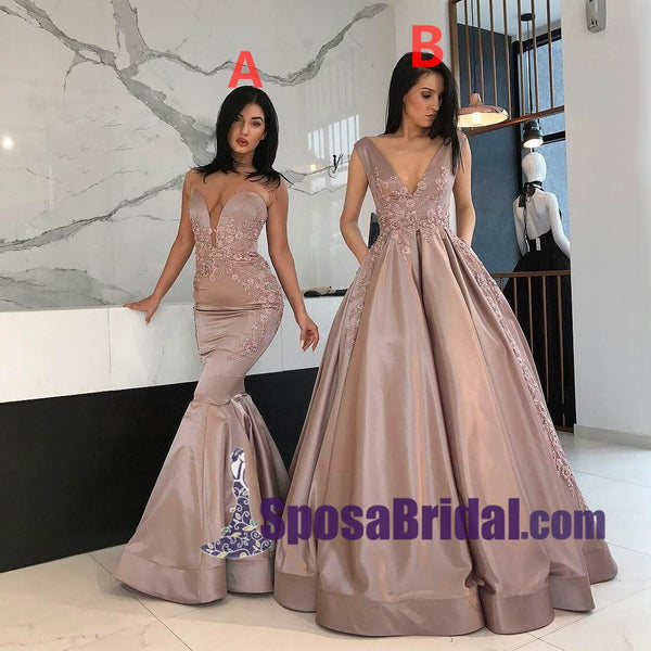Elegant Formal Floor-Length High Quality Prom Dresses, V Neck Mermaid A-Line Prom Dress, PD0712