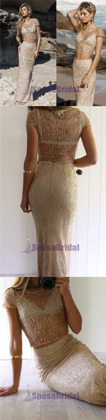 Charming Tow Pieces Sparkly Sequin Cap Sleeves Scoop Charming Fashion Prom Dresses, PD0573 - SposaBridal