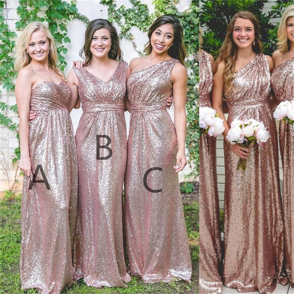 Custom Cheap Sparkly Sequin Mismatched Bridesmaid Dresses, Most Popular Dress for wedding guest, PD0457
