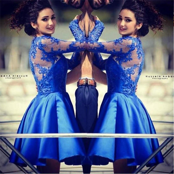 2017 Blue lace long sleeves most popular junior  homecoming dresses for teen , BD00199